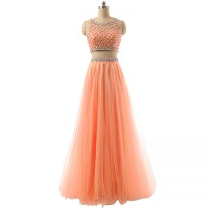 Sparkly 2 Piece Orange Prom Dresses 2017 A-Line / Princess Scoop Neck Sleeveless Beading Sequins Floor-Length / Long Tulle Formal Dresses