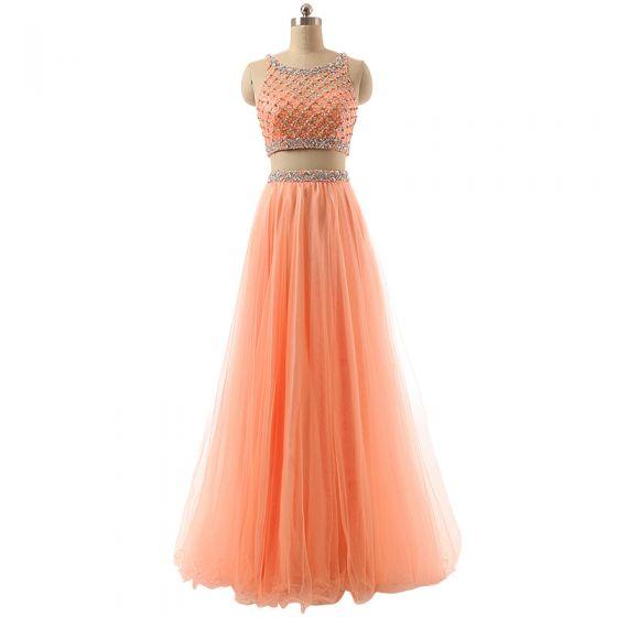 Sparkly 2 Piece Orange Prom Dresses 2017 A-Line / Princess Scoop Neck Sleeveless Beading Sequins Floor-Length / Long Tulle Formal Dresses