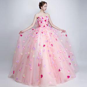 Chic / Belle Fée Des Fleurs Rose Bonbon Robe De Bal 2019 Princesse Bustier Appliques Sans Manches Dos Nu Noeud Longue Robe De Ceremonie
