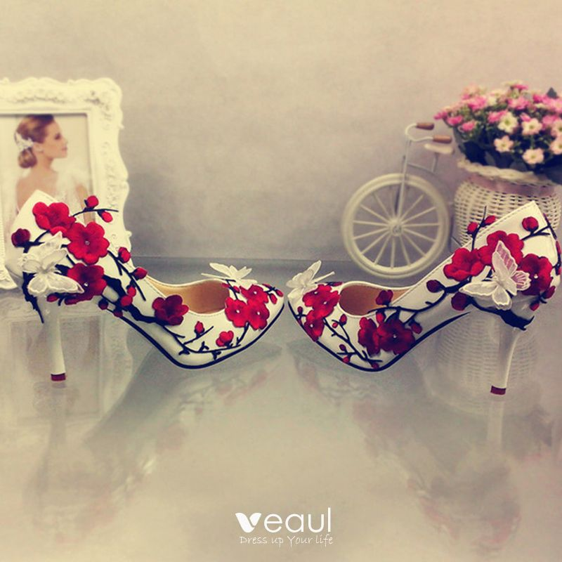 Chic / Beautiful 9 cm 2017 Purple Red Yellow Casual Church Cocktail Party Evening Party Outdoor / Garden Lace PU Appliques High Heels Stiletto Heels Pumps