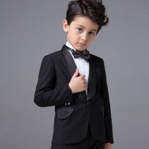 Simple Mariage Boys Wedding Suits 2017 Noire Manches Longues