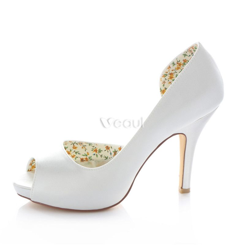 Classic White Satin Bridal Shoes Stiletto Heels Pumps 4 Inch High Heel Peep Toe