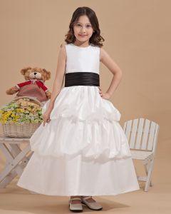 Fashion Satin Bowknot Belt Handmade Flower Girl Dresses