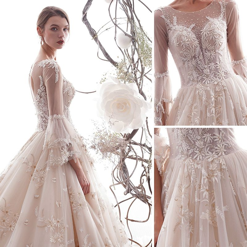 Chic / Beautiful Champagne Wedding Dresses 2019 A-Line / Princess Scoop Neck Butterfly Appliques Lace Flower Crystal Sequins 3/4 Sleeve Backless Royal Train