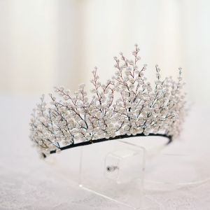 Elegant Ivory Pearl Tiara Bridal Hair Accessories 2020 Black Alloy Wedding Accessories