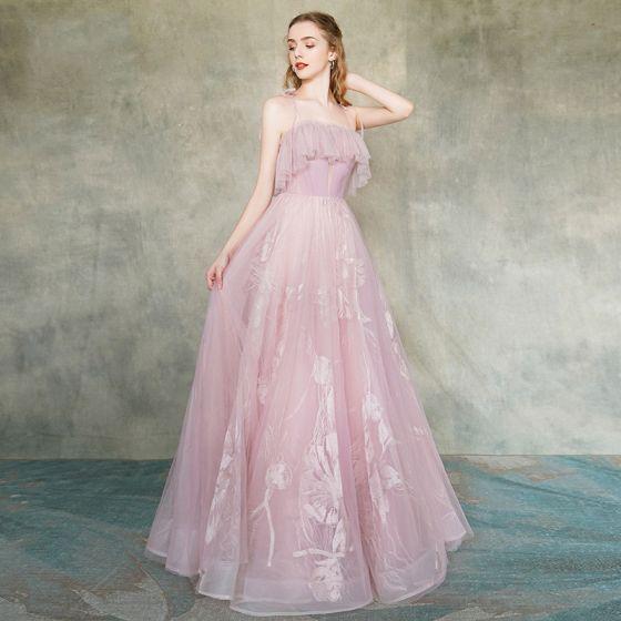 Elegante Blozen Roze Avondjurken 2019 A lijn Spaghettibandjes Mouwloos Appliques Kant Lange Ruche Ruglooze Gelegenheid Jurken