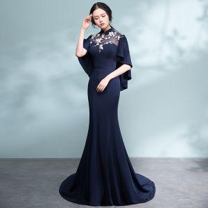 Chinesischer Stil Marineblau Durchbohrt Abendkleider 2017 Meerjungfrau Stehkragen 1/2 Ärmel Applikationen Blumen Hof-Schleppe Festliche Kleider
