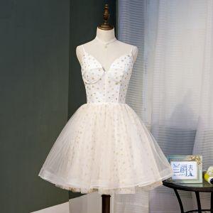 Chic / Beautiful Ivory Homecoming Graduation Dresses 2020 A-Line / Princess Spaghetti Straps Glitter Star Sleeveless Backless Knee-Length Formal Dresses