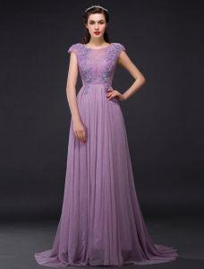 b51c4510e Imperio Princesa Perforada Encaje Apliques De Cristal De Diamante De Seda  Púrpura Vestidos De Noche