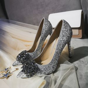 Charming Silver Evening Party Pumps 2019 Leather Crystal Sequins 10 cm Stiletto Heels Pointed Toe Pumps