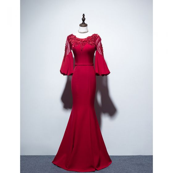 Chic / Beautiful Burgundy Evening Dresses  2019 Trumpet / Mermaid Scoop Neck Beading Sequins Lace Flower Appliques 3/4 Sleeve Backless Floor-Length / Long Formal Dresses