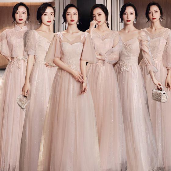 Eleganckie Rumieniąc Różowy Sukienki Dla Druhen 2021 Princessa V-Szyja Z Koronki Kwiat Kótkie Rękawy Bez Pleców Długie Sukienki Na Wesele
