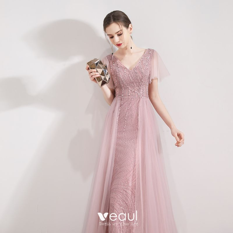 Elegant Candy Pink Evening Dresses  2019 Trumpet / Mermaid V-Neck Short Sleeve Sequins Beading Detachable Sweep Train Ruffle Backless Formal Dresses