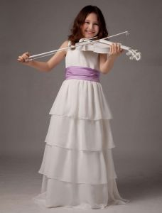 Sleeveless Sash Multi-layers Satin Flower Girl Dress