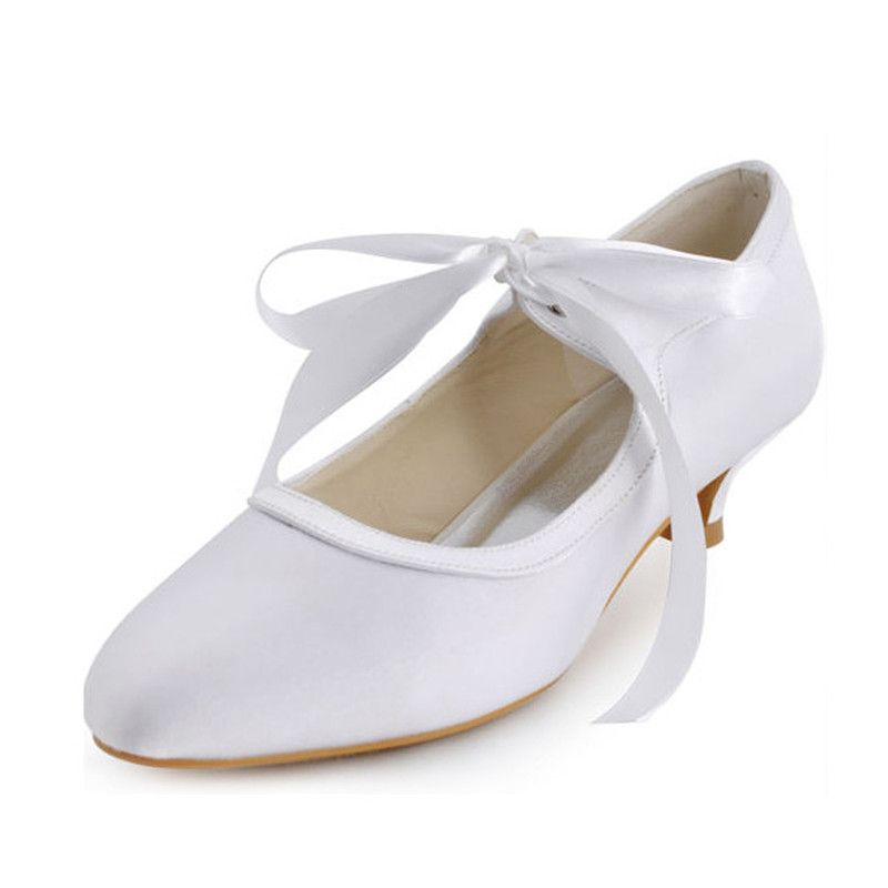 sneakers for cheap super popular buy Vintage White Satin Wedding Shoes Kitten Heel Pumps With Ankle Strap