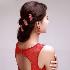 Fleurs Rouges Coiffure Mariée / Fleur Tete / Accessoires De Cheveux De Mariage / Bijoux De Mariage / Boucles D'oreille En Deux Parties