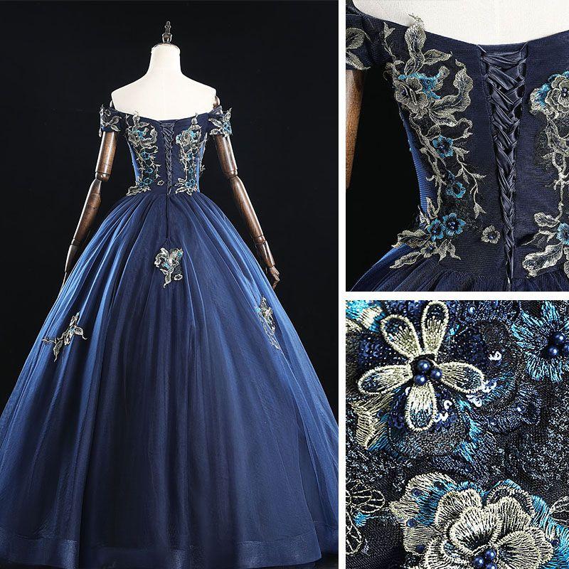 Vintage / Retro Navy Blue Prom Dresses 2019 A-Line / Princess Off-The-Shoulder Pearl Lace Flower Sleeveless Backless Floor-Length / Long Formal Dresses