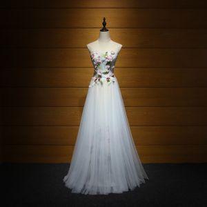 Moderne / Mode Robe De Ceremonie 2017 Robe De Soirée Bleu Ciel Princesse Longue Volants en Cascade Amoureux Dos Nu Sans Manches Paillettes Perlage Appliques Fleur Feuille