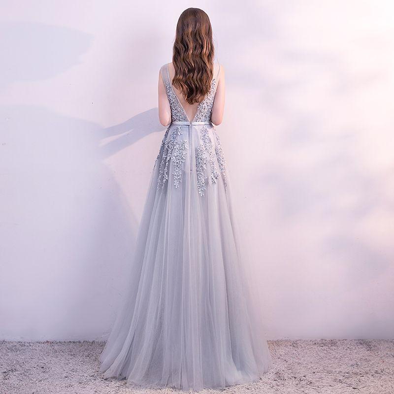 Chic / Belle Gris Robe De Soirée 2018 Princesse Dentelle Fleur Perle Paillettes Ceinture U-Cou Sans Manches Dos Nu Longue Robe De Ceremonie