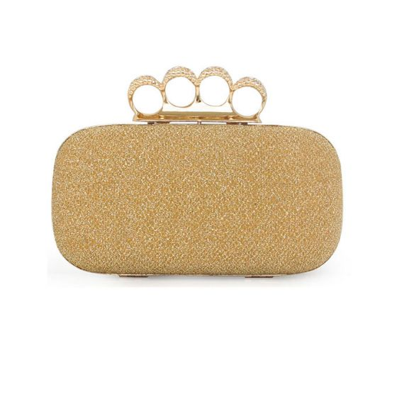 Colorful Yarn Ting Four Fingers Interlocking Small Bag Fashion Dinner Clutch Bag Ring Package
