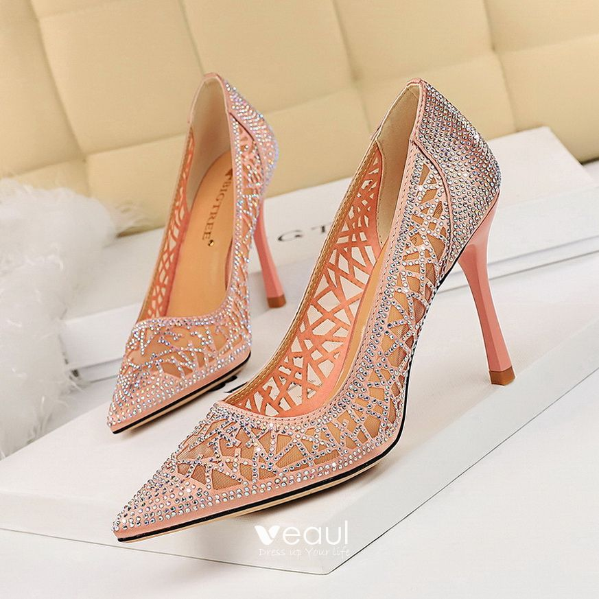 Charming Gold Evening Party Pumps 2019 Rhinestone 9 cm Stiletto Heels Pointed Toe Pumps
