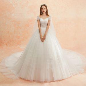 56db206860 Sencillos Marfil Vestidos De Novia 2019 A-Line   Princess Escote Cuadrado  Manga Corta Sin