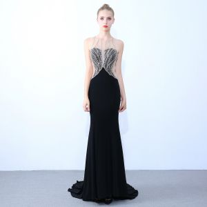 Sexy Black Evening Dresses  2019 Trumpet / Mermaid Scoop Neck Beading Sequins Rhinestone Sleeveless Backless Sweep Train Formal Dresses