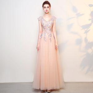 Eleganckie Różowy Perłowy Sukienki Na Bal 2018 Princessa Z Koronki Kwiat Perła V-Szyja Bez Pleców Bez Rękawów Długie Sukienki Wizytowe