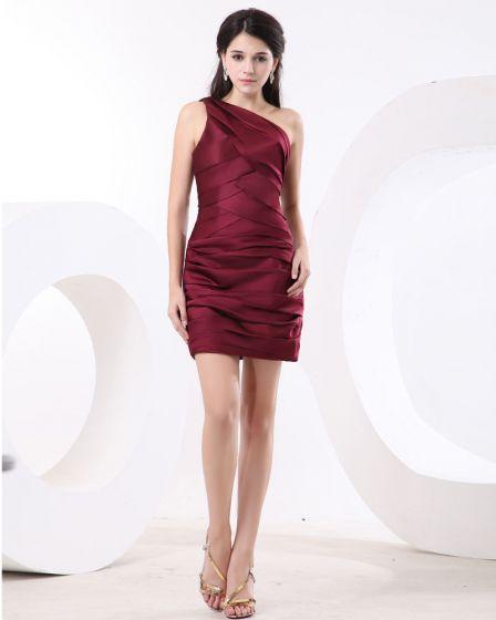 Jedno Ramie Wzburzyc Krótkie Mini Satyna Tanie Sukienki Koktajlowe Sukienki Wizytowe
