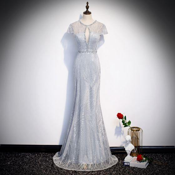 Beste Silber Durchsichtige Abendkleider 2020 Meerjungfrau Rundhalsausschnitt Kurze Ärmel Applikationen Spitze Perlenstickerei Lange Rückenfreies Festliche Kleider