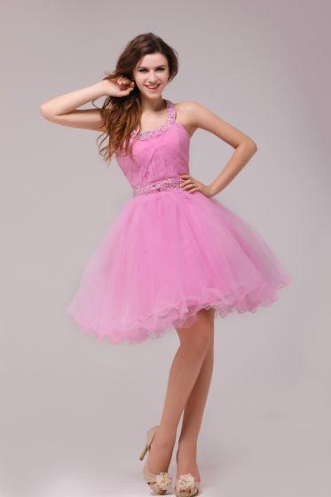 2015 Magnífica Halter Vestido De Cóctel Corto De Color Rosa