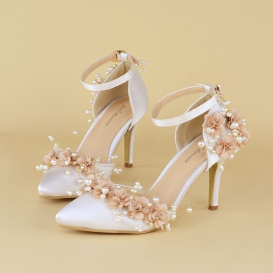 Chic / Beautiful White Wedding Shoes 2020 Pearl Ankle Strap Appliques 6 cm Stiletto Heels Pointed Toe Wedding High Heels