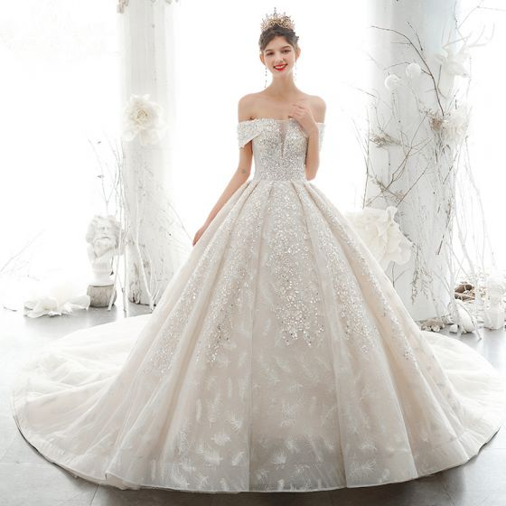 Luxury Gorgeous Off The Shoulder Wedding Dresses 2020 Ball Gown Beading Lace Flower Appliques Glitter Sequins,Tulle And Lace Wedding Dresses