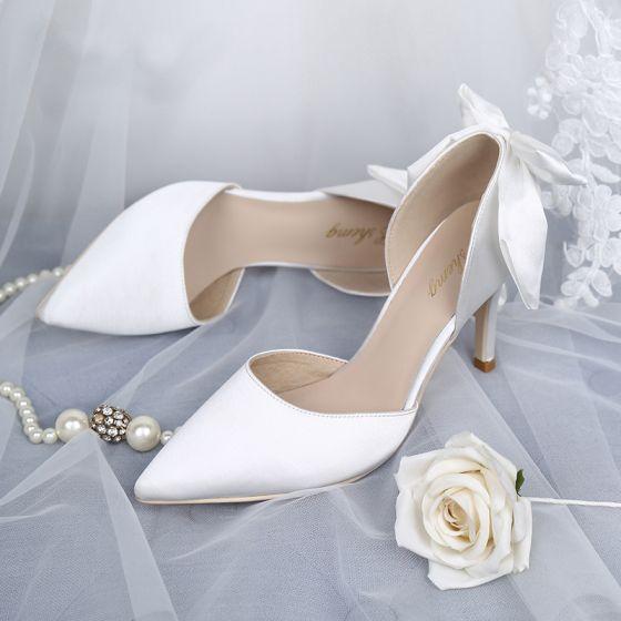 Élégant Blanche Chaussure De Mariée 2019 Cuir Satin Noeud 8 cm Talons Aiguilles À Bout Pointu Mariage Escarpins