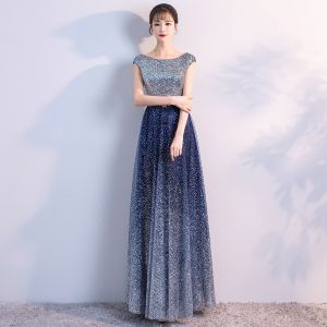 Sparkly Navy Blue Starry Sky Evening Dresses  2018 A-Line / Princess Scoop Neck Sleeveless Glitter Tulle Metal Sash Floor-Length / Long Ruffle Backless Formal Dresses