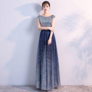Sparkly Navy Blue Starry Sky Evening Dresses  2018 A-Line / Princess Scoop Neck Sleeveless Glitter Tulle Metal Sash Floor-Length / Long Ruffle Backless Formal Dresses