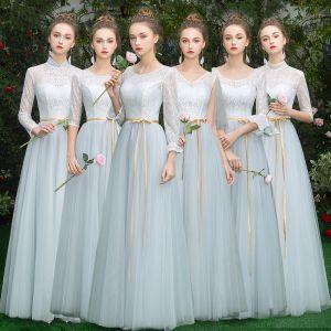 Erschwinglich Himmelblau Brautjungfernkleider 2019 A Linie Stoffgürtel Lange Rüschen Rückenfreies Kleider Für Hochzeit