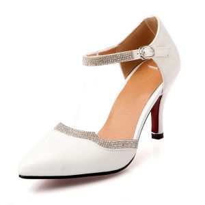 Chic White Heels Womens Sandals Ankle Strap With Rhinestone