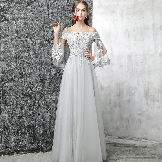 72099e2c2b Piękne Szary Sukienki Wieczorowe 2017 Princessa Przy Ramieniu Długie Rękawy  Aplikacje Kwiat Perła Z Koronki Długie ...