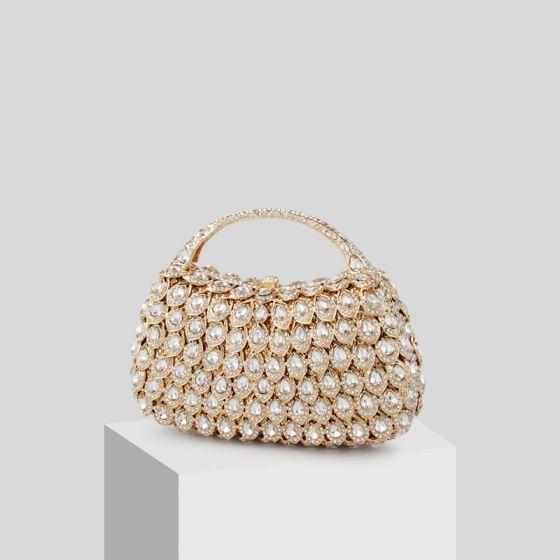 Luxury / Gorgeous Gold Beading Rhinestone Clutch Bags 2019