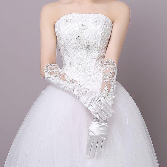 Schöne Charmeuse Tülle Hochzeit Brauthandschuhe