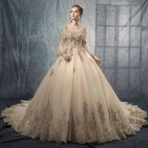 Vintage / Retro Champagne See-through Wedding Dresses 2019 A-Line / Princess Scoop Neck Long Sleeve Backless Appliques Lace Beading Chapel Train Ruffle