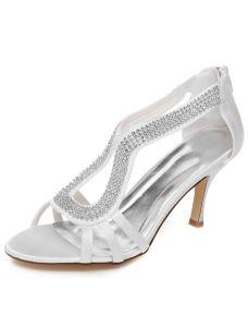 Sparkly White Wedding Sandals 3 Inch Stiletto Heels Peep Toe Bridal Shoes With Rhinestone