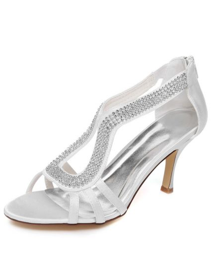 Sparkly White Wedding Sandals 3 Inch Stiletto Heels P Toe Bridal Shoes With Rhinestone