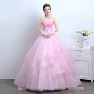 Chic / Belle 2017 Rougissant Rose Robe De Mariée Dentelle Appliques Dos Nu Corset Lanières Princesse Mariage Robe De Bal