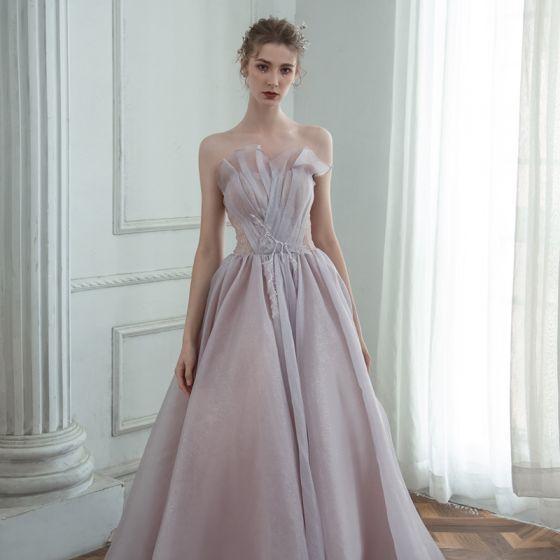 Elegantes Espliego Bailando Vestidos de gala 2020 A-Line / Princess Sweetheart Sin Mangas Rebordear Glitter Tul Largos Ruffle Sin Espalda Vestidos Formales