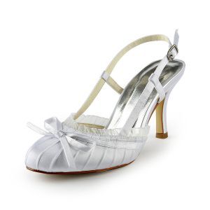 Classic White Bridal Shoes Stiletto Heel Pumps Slingbacks Sandals