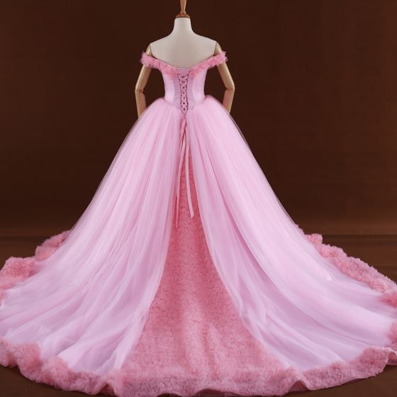 Romantic Candy Pink Ball Gown Corset Wedding Dresses 2017 Off-The-Shoulder Short Sleeve Backless Tulle Flower Cathedral Train