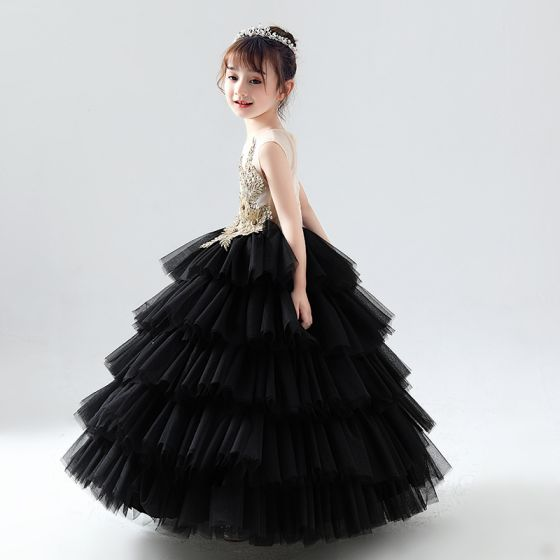 Espejismo Negro Transparentes Cumpleaños Vestidos para niñas 2020 Ball Gown Scoop Escote Sin Mangas Oro Flor Apliques Con Encaje Rebordear Largos Volantes En Cascada