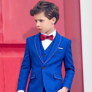 Simple Rouge Cravate Bleu Roi Costumes De Mariage pour garçons 2019